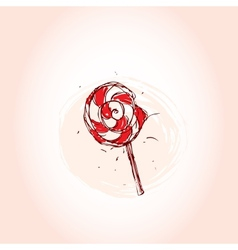 Lollipop Hand drawn sketch on pink background vector image