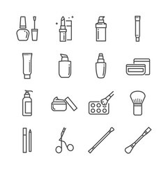 Make-up and cosmetic line icon vector