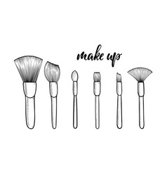 Make up brushes for cosmetics with lettering vector