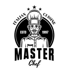 master chef cooking monochrome emblem vector image