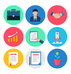 Modern business flat icons set vector