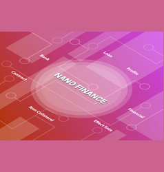 nano finance concept words isometric 3d word text vector image
