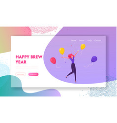 new year celebration website landing page happy vector image