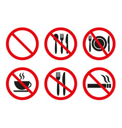 no food and no smoking signs on white background vector image