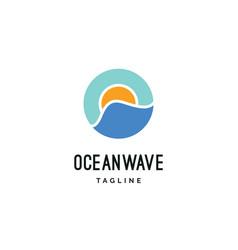 ocean wave with sun logo vector image