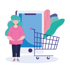 Online payment girl shopping cart smartphone vector