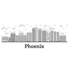 Outline phoenix arizona city skyline with modern vector