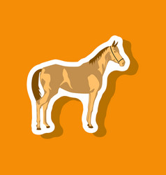 Paper sticker on stylish background horse vector
