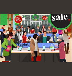People shopping on black friday vector