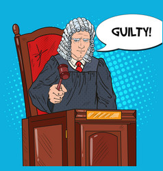 pop art judge in courthouse striking the gavel vector image