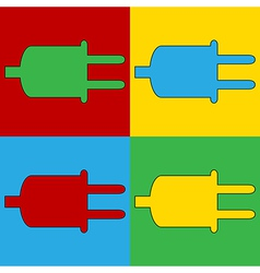 Pop art power cord icons vector