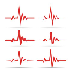Red heart rhythm symbols vector