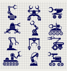 Robot arms collection on notebook backround vector