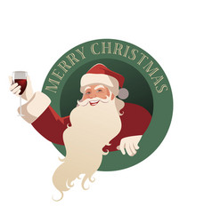 santa claus holding a glass wine-02 vector image