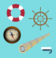 sea icon set spyglass compass sailors cap vector image vector image