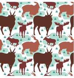 seamless pattern repeatable of horned deer buck vector image
