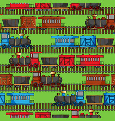 seamless pattern with colored trains and railroad vector image