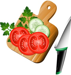 Serving board with ingredients on vector