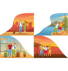 Set 2d flat tourists on vacation and on excursions vector