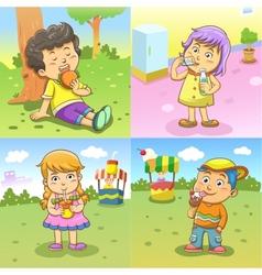 set child activities routines vector image