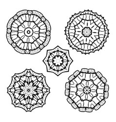 set from five round black and white mandalas vector image