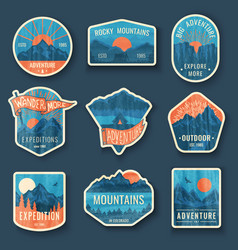 set nine mountain travel emblems with grunge vector image