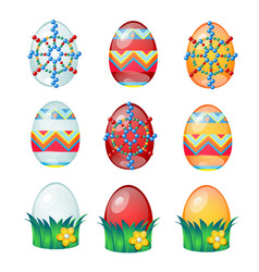 Set of colorful easter eggs with patterns isolated vector