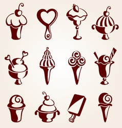 set of ice cream dessert vector image