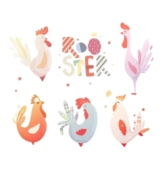 set roosters for new year 2017 vector image