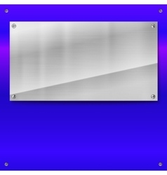 Shiny brushed metal plate with screws vector