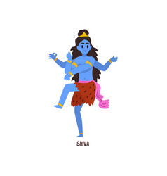 Shiva indian god cartoon character vector
