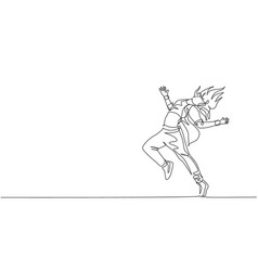 single continuous line drawing young energetic vector image