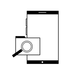 smartphone folder file magnifying glass vector image