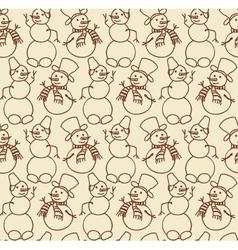 snowman seamless doodles vector image