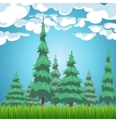 Spruce forest nature landscape vector image