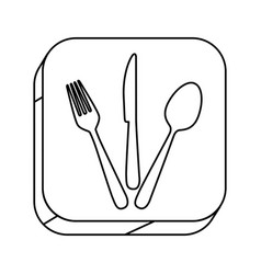 Square silhouette button with contour cutlery set vector