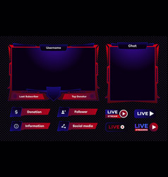 Streaming screen panel overlay game template vector