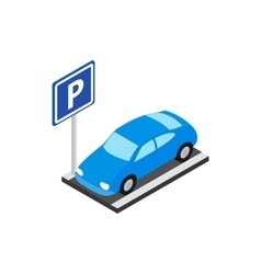 Street parking icon isometric 3d style vector image