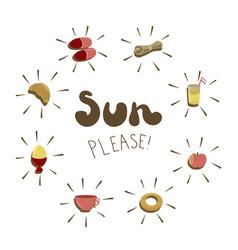 Sun please - hand drawn phrase with vector