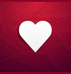 this is a white heart on a red crumpled paper vector image