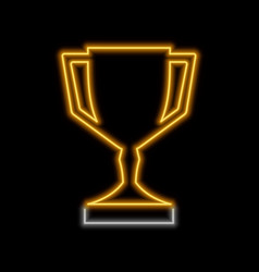 Trophy neon sign bright glowing symbol on a black vector