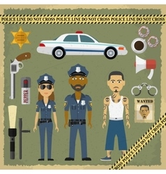 Two police officers man and woman criminal vector