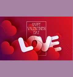 valentines day hearts love red abstract background vector image