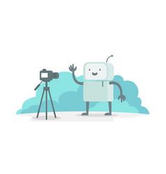 Videoobloger robot character in front of the vector