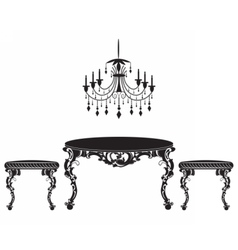 Vintage Baroque luxury ornamented furniture set vector