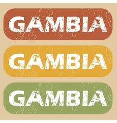 Vintage Gambia stamp set vector