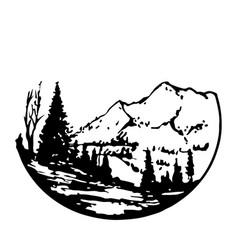 vintage landscape with mountain peaks end vector image