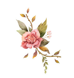 Watercolor autumn arrangement with rose and vector