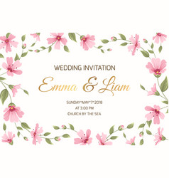 Wedding invitation gypsophila flowers border frame vector