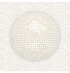 White disco ball on white mosaic background vector image